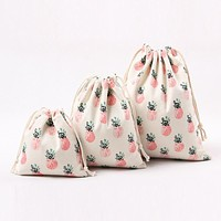 YILE Natural Cotton Canvas Travelling Clothing Sorted Pouch String Closure Multi-purpose Bag Print Pineapple Size-choosing N224