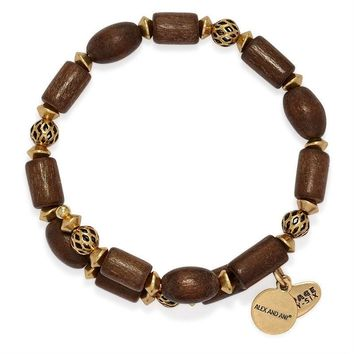 Alex and Ani Ebony Wood Woodland Hush Wrap - Rafaelian Gold Finish