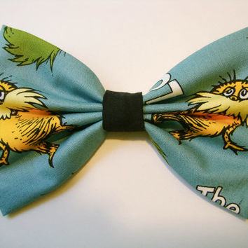 The Lorax Handmade Fabric Hair Bow with Alligator Clip / Big Bow / Dr. Seuss / A