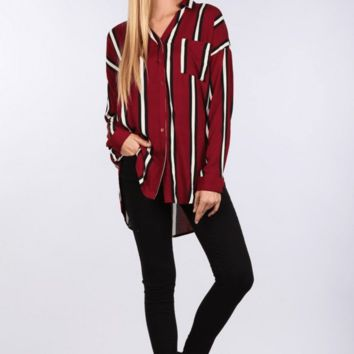 Jenna Oversized Button Front Stripe Tunic Top