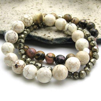 White Turquoise Bead Bracelet with Sterling SIlver by byjodi