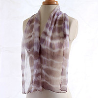 Naturally dyed scarf, lilac brown grey chiffon silk scarf, shibori hand dyed scarf, logwood dyed, lavender purple stripe pattern scarf