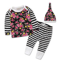 3Pcs Newborn Infant Baby Girl Clothes Hoodie Tops+Floral Pants Leggings Outfits