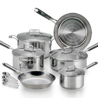 T-fal E759SE Performa Pro Stainless Steel Dishwasher Safe Oven Safe Cookware Set, 14-Piece, Silver