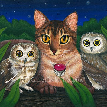 Cat Owls Art Cat Painting Saw Whet Owl Abyssinian Cat Big Eye Art Little Owl Portrait Fantasy Cat Art Print 8x10 Cat Lovers Art