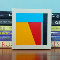 Original Acrylic Abstract Painting Tiny Geometric Canvas Home Decor Modern Contemporary Wall Art