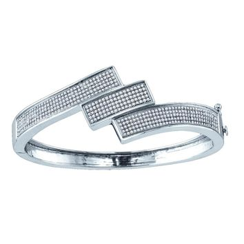 Sterling Silver Womens Round Diamond Triple Row Bangle Bracelet 1-1/3 Cttw