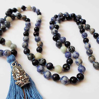 Sodalite Obsidian Aventurine Necklace Jewelry, 108 beads Yoga Mala, Gemstone necklace,  Boho Tassel Necklace, Ganesha Pendant, Zen Necklace