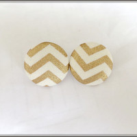 Womens Earrings, Chevron Earrings, Gold Chevron Stud Earring , Button Earrings, Fabric Covered Stud Earrings