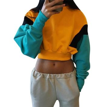 NIBESSER Long Sleeve Loose Hoodie Crop Top 2018 New hip hop Women Spring Autumn Patchwork color Orange Hoodies Sweatshirt