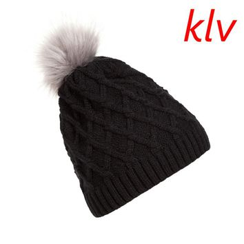 KLV Fashion Women Lady  Casual Solid Faux Fur Ball Winter Warm Crochet Knitted Hat Cap Beanie New
