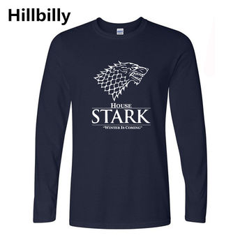 Game of Thrones Wolf T-shirt Stark Winterfell Cotton Tshirts Winter is coming Casual Streetwear Full Sleeve Long T shirt Fitness