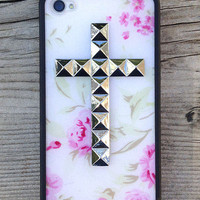 Baby Rose Silver Studded Cross iPhone 4/4s Case | Wildflower cases