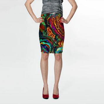 Wearable Art, custom made, exclusive print design, artful stretch fitted skirt, shaping flattering abstract liquid colorful enamel design