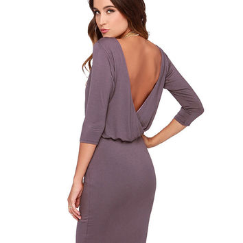 Half Sleeve Backless Blouson Mini Bodycon Dress
