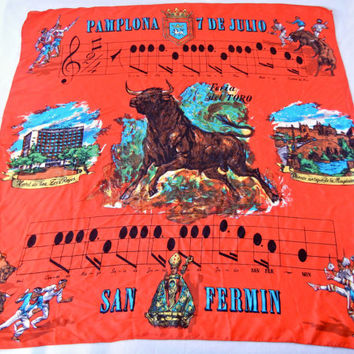 Pamplona Spain Souvenir Scarf, Running of the Bulls, Festival of San Fermin, El Torro, Song and Lyrics, 60s Travel