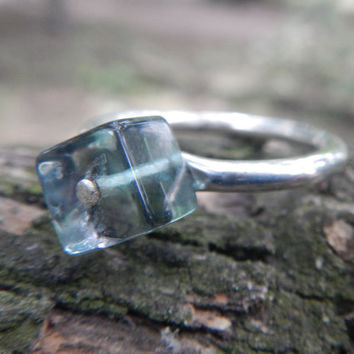 Cubed Fluorite and Sterling Silver Rivet Ring