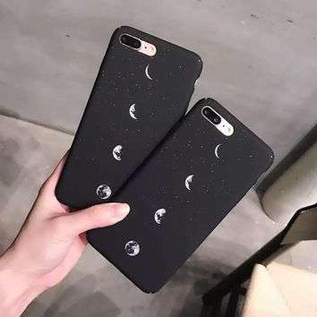 Fantastic Landscape Space Moon Cases Coque Slim Hard Protect Scrub PC Phone Case Cover For iPhone 6 6S Plus 7 7Plus
