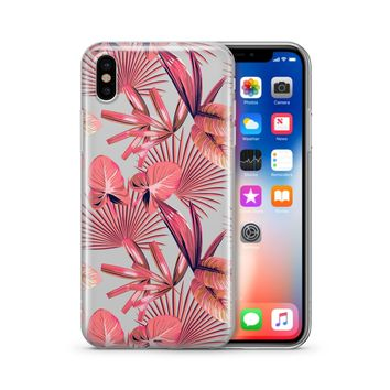 Pink Palm Leaves - Clear Case Cover
