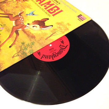 Vinyl Record Walt Disneys Story And Songs From Bambi LP Album 1969 Thumper Cartoon Incl Booklet