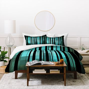 Madart Inc. Black Stripes Romantic Evening Duvet Cover