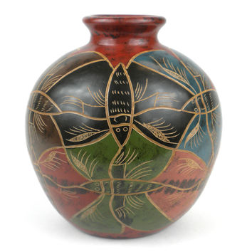 Handmade 7 inch Tall Clay Pottery Vase Modern Butterfly - Central America Ecuador Nicaragua