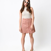 1970s Style Dusty Pink Faux Suede High Waist Button Scallop Skirt