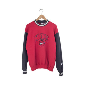 90s NIKE SWEATSHIRT // color block / nike sweater / red and black pullover / ringer / embroidered / chicago bulls / vintage / mens / small