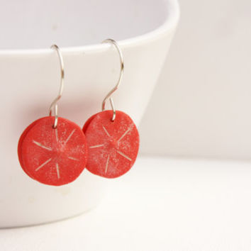 Red organic flower earrings, minimal contemporary, polymer clay silver jewelry