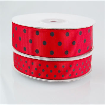 Lady Bug Red Grosgrain Ribbon, 5/8-inch, 25-yard