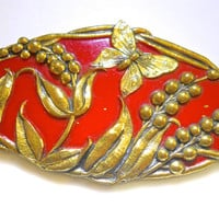 Enamel Red Brooch, Art Nouveau, Gold Floral Relief, Antique