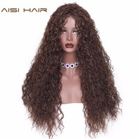 AISI HAIR  Synthetic wig Water Wave Wigs Long Brown Black Hair for Women High Temperature Fiber Resistant