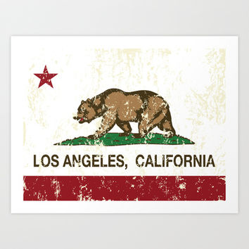 California Flag Los Angeles distressed  Art Print by NorCal