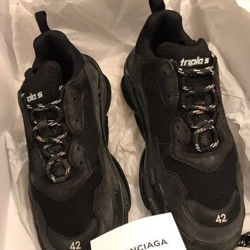 New Balenciaga Trainer Sneakers Triple S US 9 EU 42 Men Black Speed Very Rare