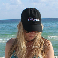State Baseball Cap Black Personalized Custom Embroidery Hat bio washed