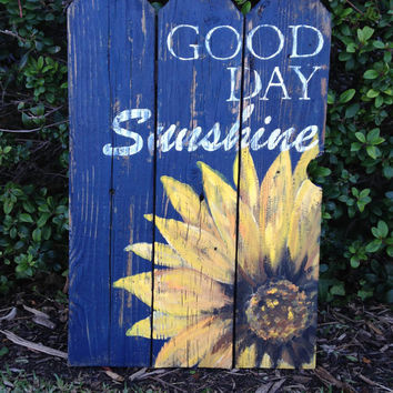 Good Day Sunshine with Sunflower Beatles Sign