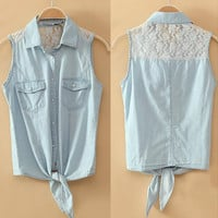A 080102 s Lace stitching denim vest thin section