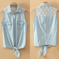 A 080102 bb Lace stitching denim vest thin section