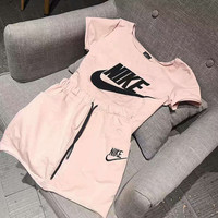 Nike: sports suit men and women with the same cotton short sleeved breathable T-shirt + elastic waist casual shorts two sets