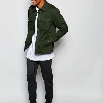 New Look | New Look Overshirt in Khaki In Regular Fit at ASOS