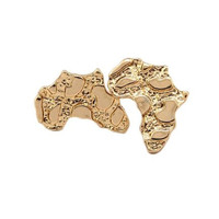 Goldtone Small Africa Nugget Stud Earrings