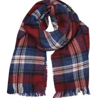 Double Sided Wine Check Scarf - View All New In - New In