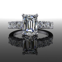 Forever Brilliant Moissanite Seven Stone Engagement Ring Emerald Cut 2.50 CTW
