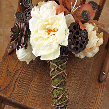 Woodland Moss Rustic Wedding Bouquet  by SouthernGirlWeddings