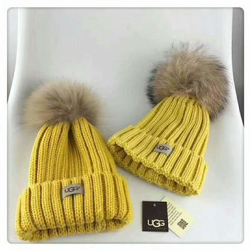 UGG parent-child cap high-quality exclusive version F-HAOXIE-ADXJ Yellow