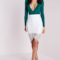 Missguided - Long Sleeve Wrap Over Plunge Bodysuit Teal