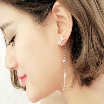 CZ Leaf Dangle Cuff Wrap Earring Ear Studs
