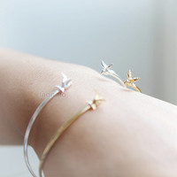 Tiny Sparrow Bangle / Choose your color- gold and silver