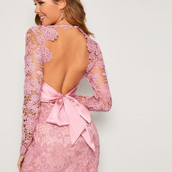 Guipure Lace Overlay Plunging Neck Tie Backless Dress