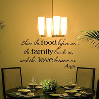 Wall Decal Bless the Food Family Love Vinyl Wall Decal 22195